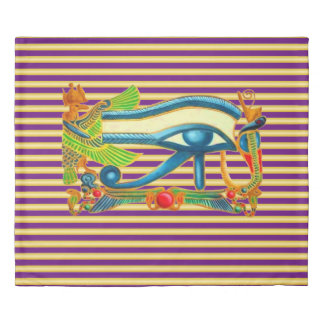 Eye of Horus Protection on gold and purple stripes Duvet Cover