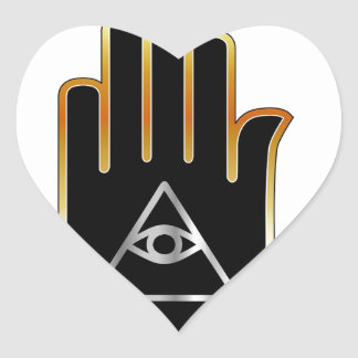 Eye of Providence in hand- religious symbol Heart Sticker