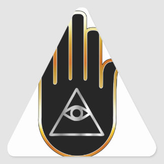 Eye of Providence in hand- religious symbol Triangle Sticker
