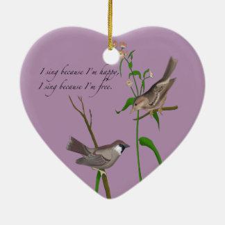 Eye on the Sparrow Ceramic Heart Ornament