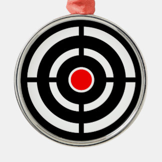 Eye on The Target - Bullseye Print Silver-Colored Round Ornament