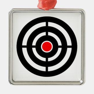 Eye on The Target - Bullseye Print Silver-Colored Square Ornament