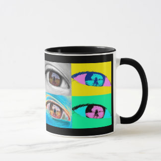 eye photographs and pop art style mug
