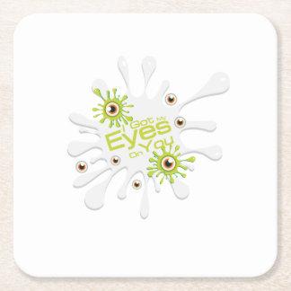 Eye Scare Eyeballs Freaky Halloween Funny Spooky Square Paper Coaster