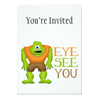 "Eye See You Funny Cyclops Monster 5"" X 7"" Invitation Card"