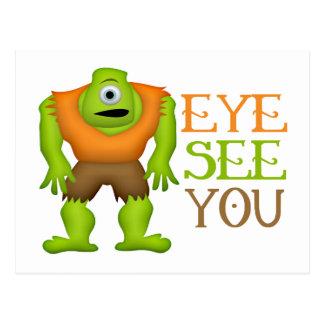 Eye See You Funny Cyclops Monster Postcard