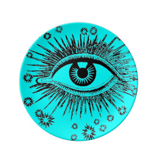 Eye See You ICU Mystic Weird Odd Graphic Art Porcelain Plate