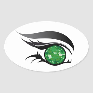 """EYE SEE YOU """"MAY EMERALD"""" OVAL STICKER"""