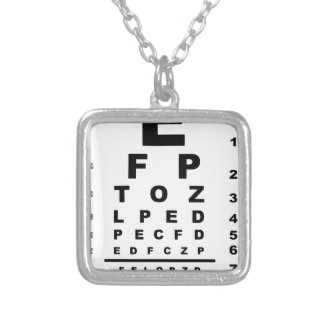 Eye Test Chart Silver Plated Necklace