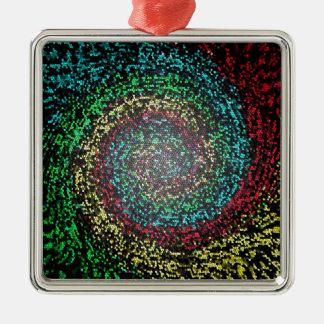 Eye test spiral Silver-Colored square ornament