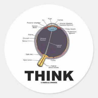Eye Think (I Think Anatomical Eye Humor) Classic Round Sticker