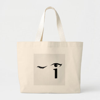 Eye winking with letter i forming the eyeball jumbo tote bag