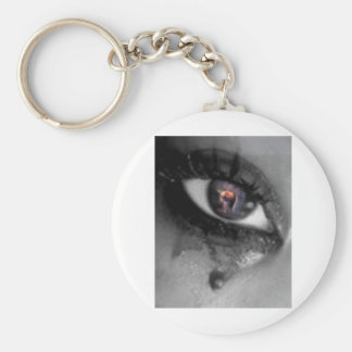 eye with 911 explosion in it basic round button keychain