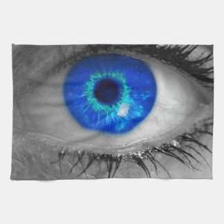 Eye with blue iris looks at viewer concept ma kitchen towel