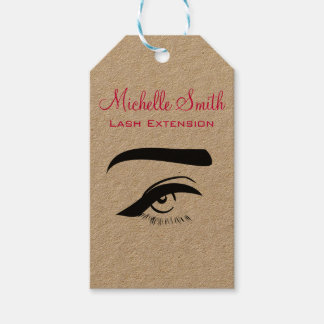 Eye with eyeliner lash extension branding gift tags