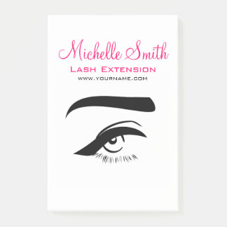 Eye with eyeliner lash extension branding post-it notes