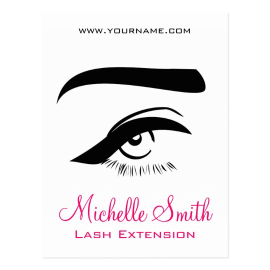 Eye with eyeliner lash extension branding postcard
