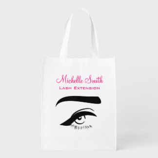 Eye with eyeliner lash extension branding reusable grocery bag