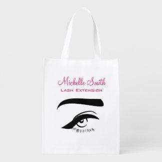 Eye with eyeliner lash extension branding reusable grocery bag
