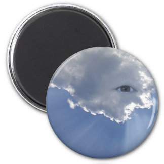 Eye with rays through clouds 2 inch round magnet