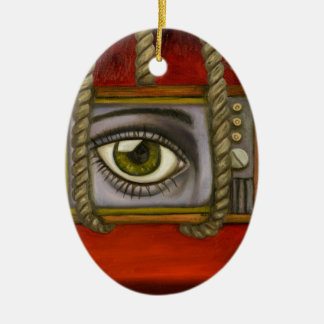 Eye Witness 2 Ceramic Oval Ornament