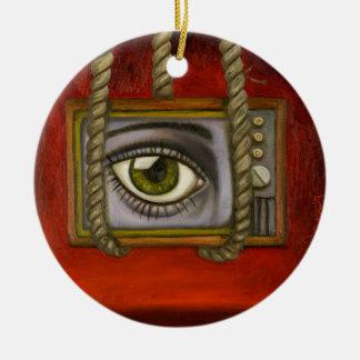 Eye Witness 2 Round Ceramic Ornament