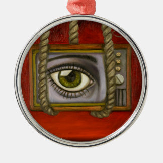 Eye Witness 2 Silver-Colored Round Ornament
