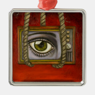 Eye Witness 2 Silver-Colored Square Ornament