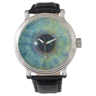 Eyeball clock face watch
