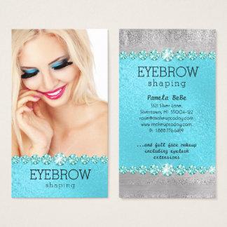 Eyebrow Eye Lash Makeup Blue Diamond Glitter Business Card