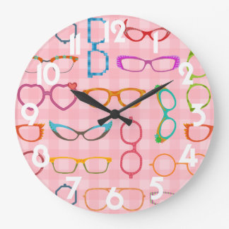 Eyeglasses Retro Modern Hipster with Pink Gingham Wall Clocks