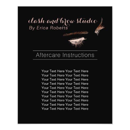 Eyelash & Brow Makeup Artist Aftercare Instruction Flyer