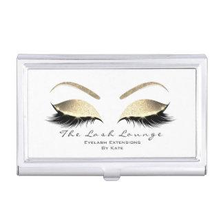 Eyelash Extension Beauty Studio Gold Glitter1 Business Card Holder