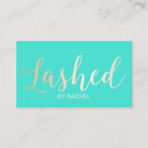 Eyelash extensions business cards business card printing zazzle ca eyelash extension gold script modern turquoise business card colourmoves