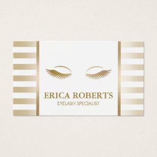 Eyelash Extension Makeup Artist Chic Gold Stripes Business Card