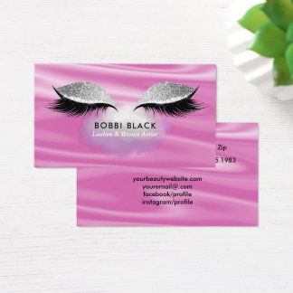 Eyelash Extensions Brow Pink Glitter Makeup Modern Business Card