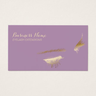 Eyelash Extensions Chic Gold & Purple Business Card