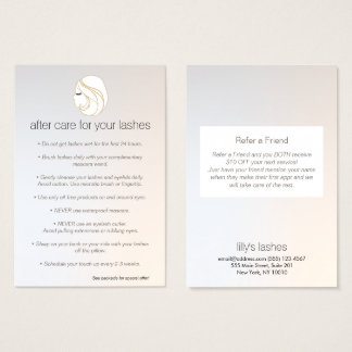 Eyelash Extensions Lash Girl After Care Referral Business Card