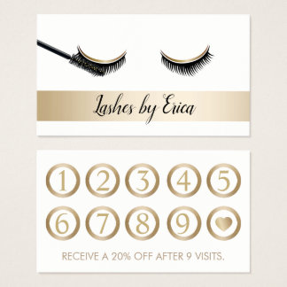 Eyelash Extensions Makeup Artist Gold Loyalty Business Card