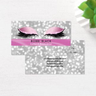 Eyelash Extensions Pink Glitter Glam Makeup Business Card