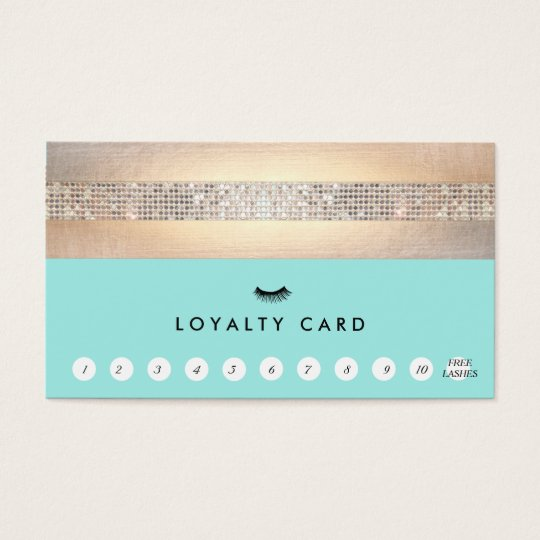 EyeLash Extensions Turquoise Loyalty 11 Punch Business Card