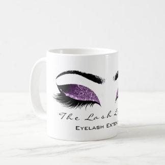 Eyelash Extention Beauty Plum Aubergine Glitter Coffee Mug