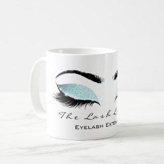 Eyelash Extention Beauty Studio Aqua Blue Glitter Coffee Mug
