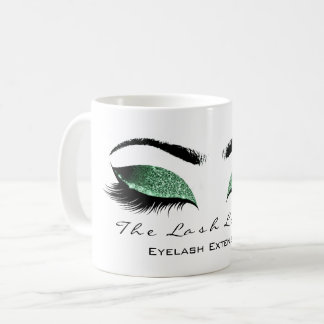 Eyelash Extention Beauty Studio Cali Green Glitter Coffee Mug
