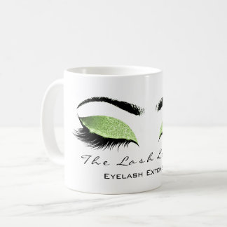 Eyelash Extention Beauty Studio Greenery Glitter Coffee Mug