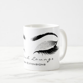 Eyelash Extention Beauty Studio Silve Gray Glitter Coffee Mug