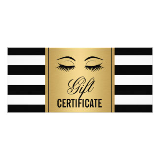 Eyelashes Makeup Gift Certificate Gold B&W Stripes Rack Card Template