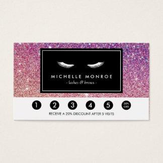 Eyelashes Purple/Pink Glitter Loyalty Punch Card