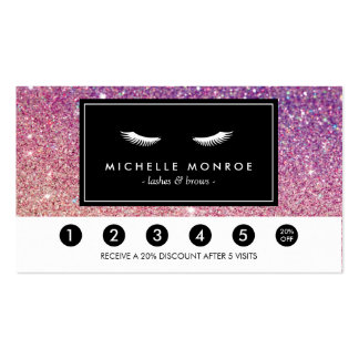 Eyelashes Purple/Pink Glitter Loyalty Punch Card Business Card