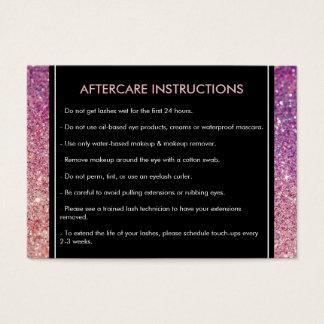 Eyelashes Purple/Pink Glitter Salon Aftercare Card